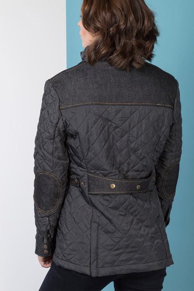 Black - Denim Trim Quilted Jacket 2016