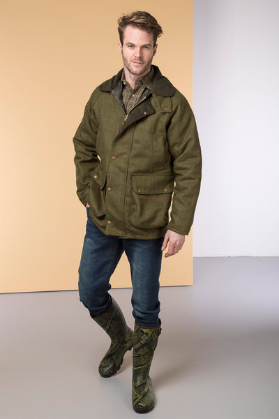 Dark Check - Mens Derby Tweed Padded Shooting Jacket