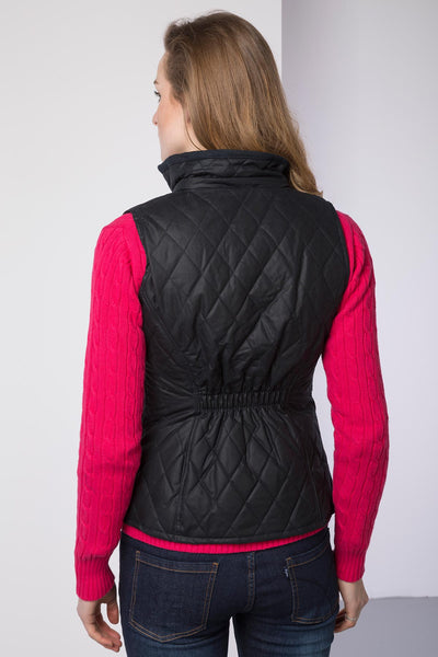 Navy - Ladies Diamond Quilted Wax Waistcoat with Elasticated Back