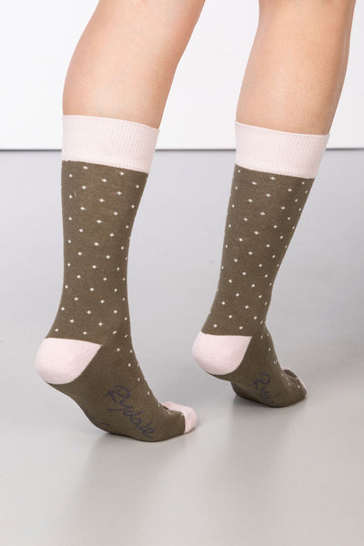 Khaki - Dotty Ankle Socks