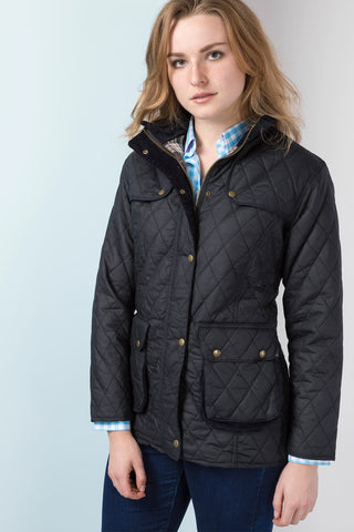 Diamond Quilted Wax Jacket with Elasticated Back