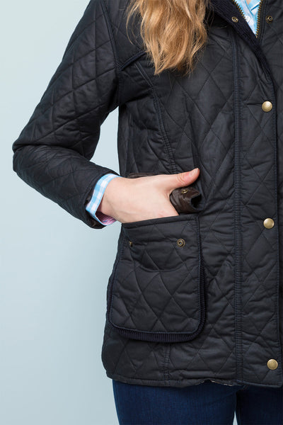 Black - Diamond Quilted Wax Jacket Elastic back