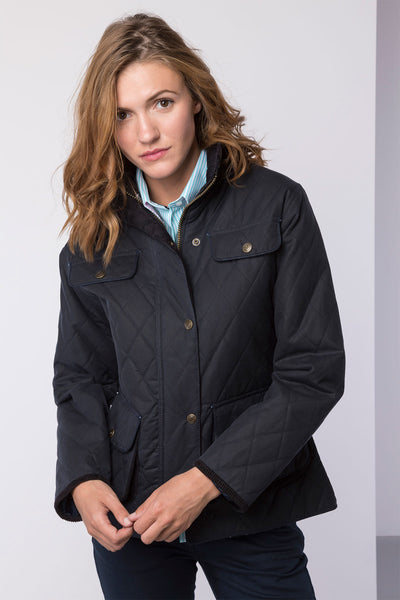 Navy - Ladies Diamond Quilted Waxed Cotton Showerproof Jacket
