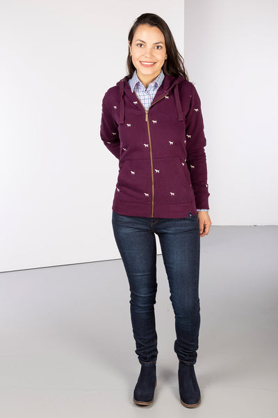 Berry - Ladies Embroidered Zip-Up Hoody - Emily