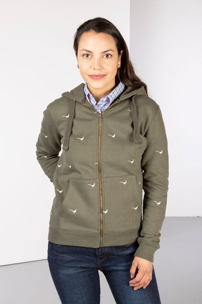 Khaki - Ladies Embroidered Zip-Up Hoody - Emily
