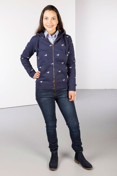 Navy - Ladies Embroidered Zip-Up Hoody - Emily
