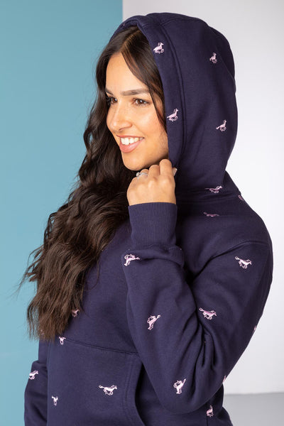 Navy - Ladies Emily Embroidered Hoody