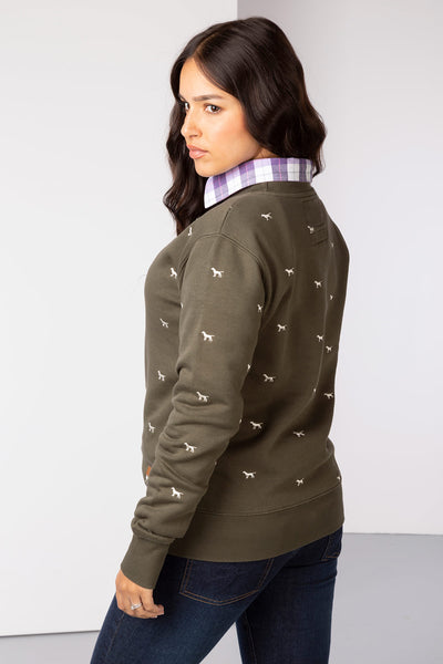 Khaki - Emily Embroidered Sweatshirt