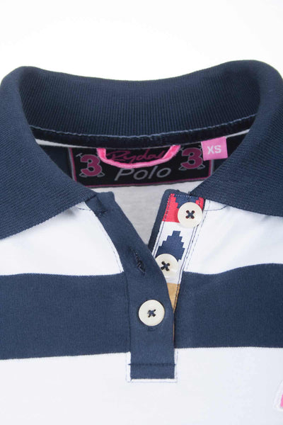 Navy / White Stripe - Ladies Two Tone Soft Weave Polo Shirts