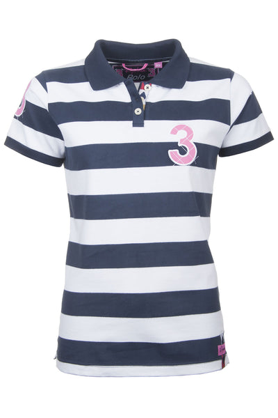 Navy / White Stripe - Ladies Etton Striped Polo Shirts