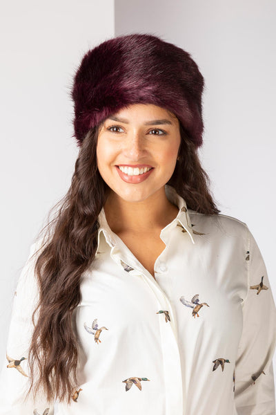 Burgundy - Faux Fur Headband
