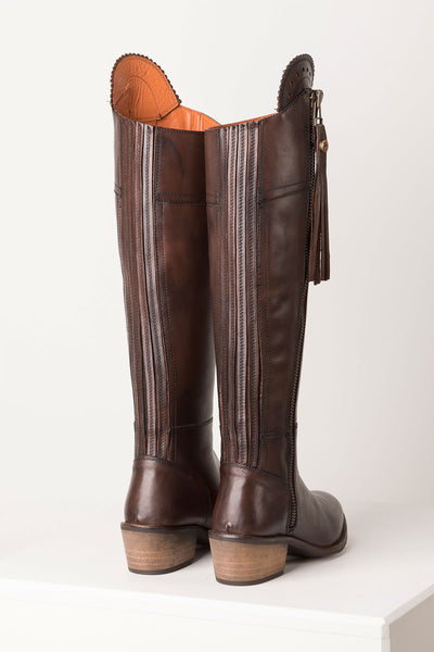Brown - Tall Leather Heeled Boot
