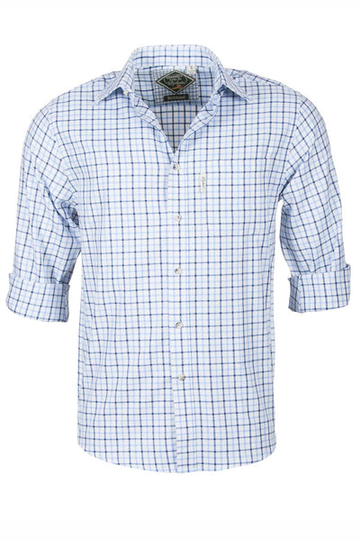 Richmond Fine Blue/navy - Mens 100% Cotton Long Sleeved Shirt