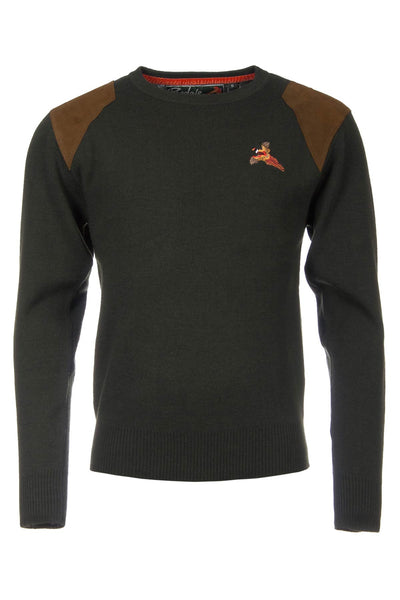 Olive Pheasant - Fine Crew Neck Shooting Sweater