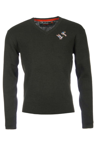 Olive Mallard - Fine V Neck Shooting Sweater