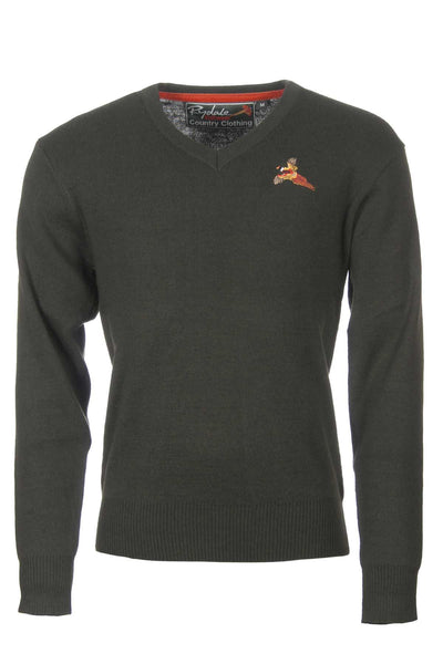 Olive Pheasant - Fine V Neck Shooting Sweater