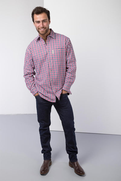 Richmond Red/navy - Fleece Lined Country Shirt