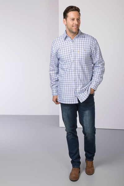 Richmond Fine Blue/navy - Fleece Lined Country Shirt