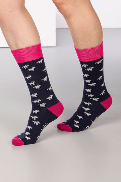 Navy - Galloping Horse Ankle Socks
