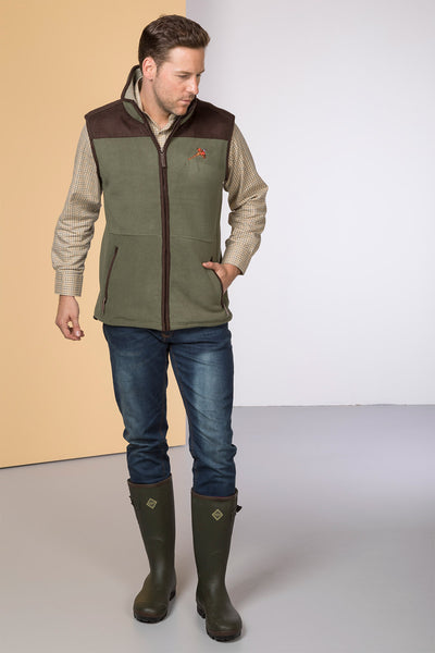 Light Olive - Garton Fleece Gilet with Pheasant Motif