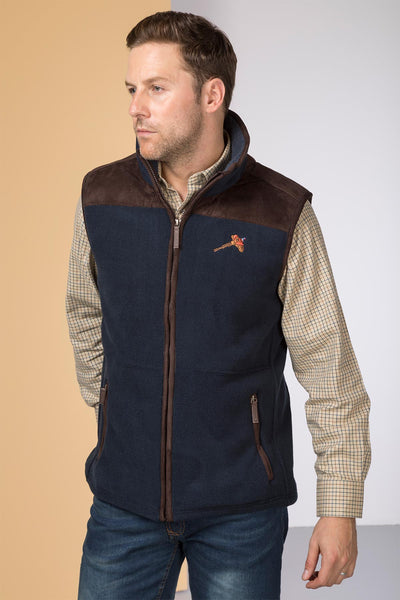Navy - Garton Fleece Gilet with Pheasant Motif