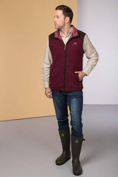 Deep Red - Garton Fleece Gilet with Pheasant Motif