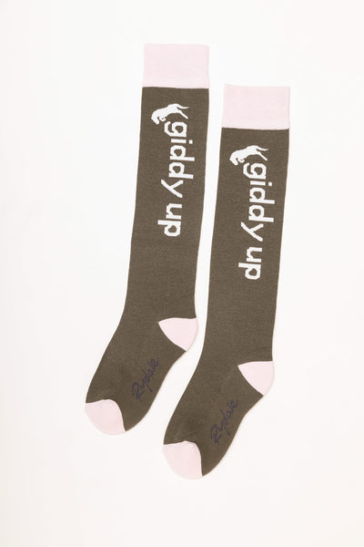Khaki - Giddy Up Knee Length Socks