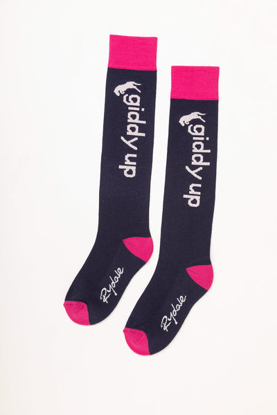 Navy - Giddy Up Knee Length Socks