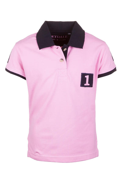 Pink/Navy - Girls Cropton Numbered Polo Shirt
