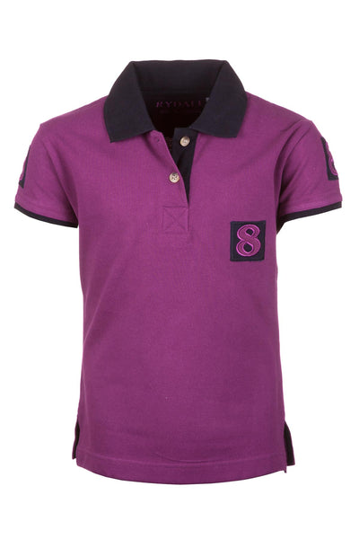 Plum/Navy - Girls Cropton Numbered Polo Shirt