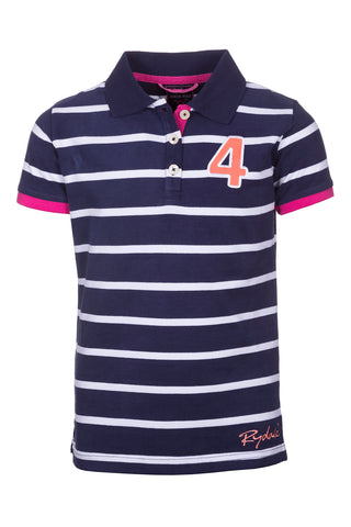 Navy - Girls Haxby Hooped Polo Shirt