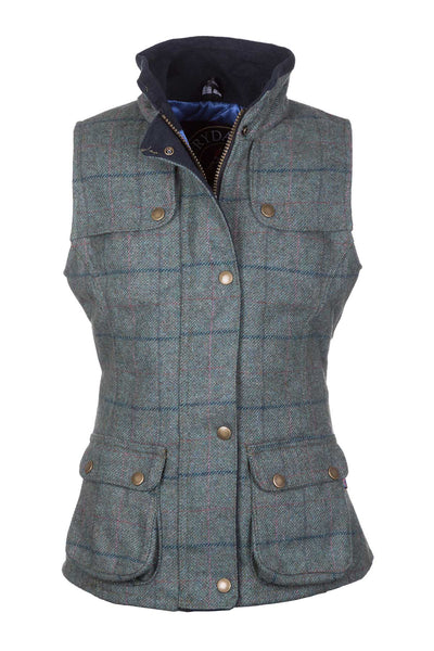 Blue Check - Rydale Juniors Girls Tweed Waistcoat Bodywarmer