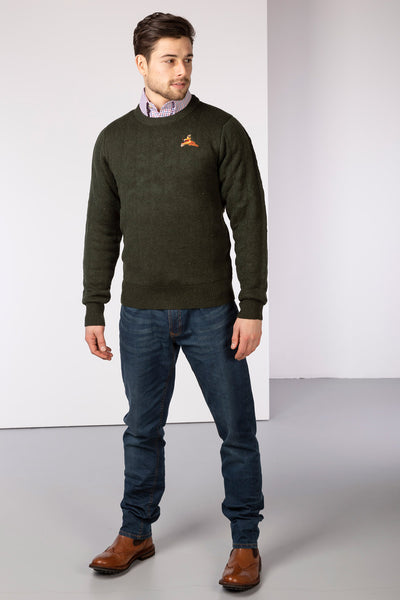 Olive Pheasant - Quilted Shooting Sweater