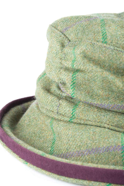 Purple / Green - Womens Brimmed Soft Tweed Hats