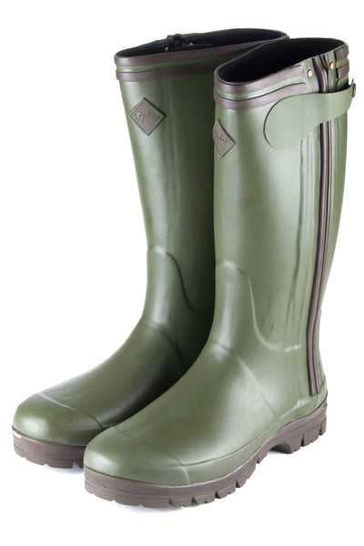 Dk Olive - Mens High Zipped Wellington Boot