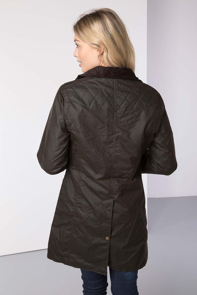 Olive - Hannah 3/4 Diamond Quilted Wax Jacket