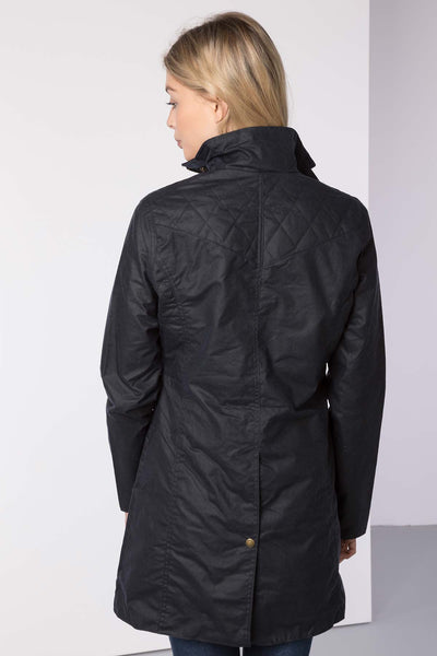 Navy - Hannah 3/4 Diamond Quilted Wax Jacket