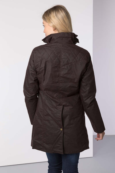 Brown - Hannah 3/4 Diamond Quilted Wax Jacket