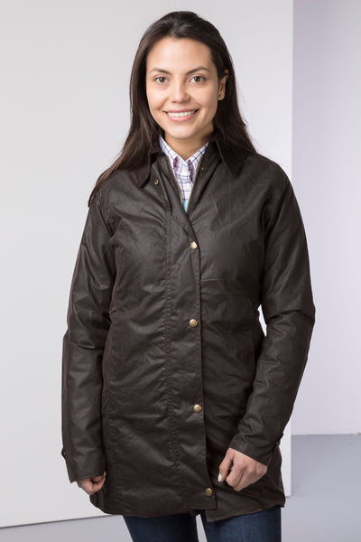 Brown - Hannah long wax jacket