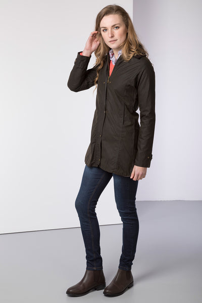 Olive - Hannah waterproof long wax outdoors jacket