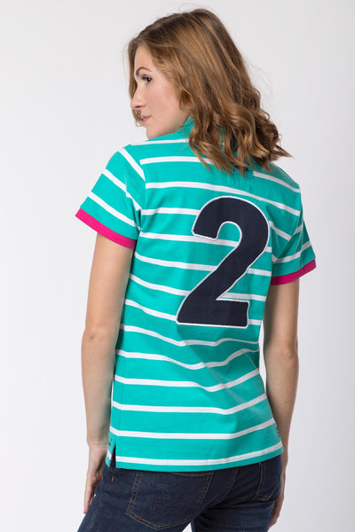 Aqua - Ladies Haxby Hooped Polo Shirt
