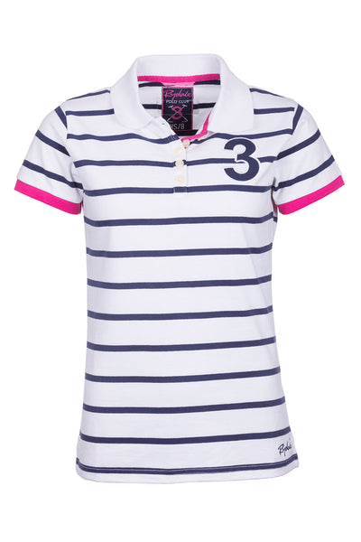 White - Ladies Haxby Hooped Polo Shirt