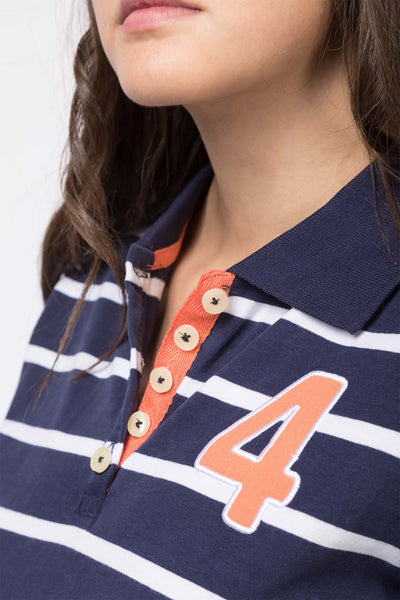 Navy - Ladies Haxby Hooped Polo Shirt