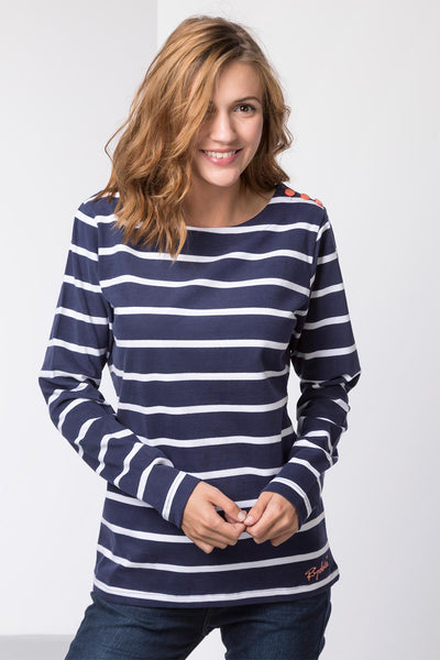 Navy - Ladies Haxby Hooped T-Shirt