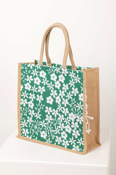 Ditsy Sage - Hessian Printed Shopping Bag