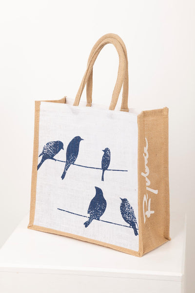 Garden Birds - Hessian Printed Shopping Bag