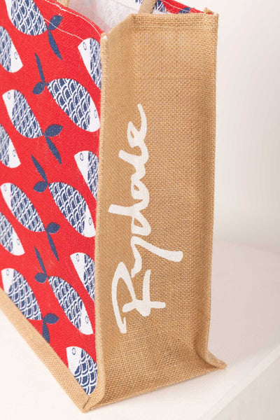 Red Fish - Hessian Printed Shopping Bag