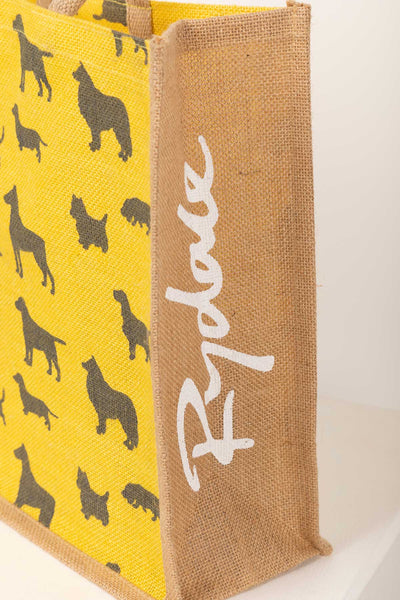 Yellow Dogs - Hessian Printed Shopping Bag