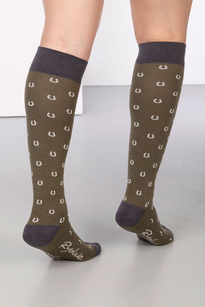 Khaki - Horse Shoe Knee Length Socks