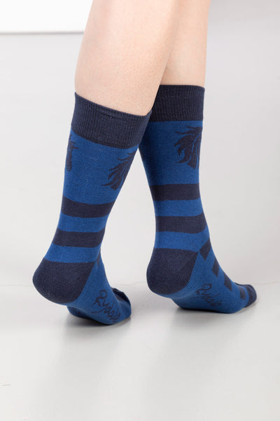 Blue - Ladies Horses Head Ankle Socks